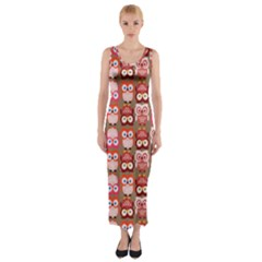 Eye Owl Colorfull Pink Orange Brown Copy Fitted Maxi Dress