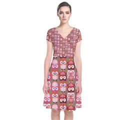 Eye Owl Colorfull Pink Orange Brown Copy Short Sleeve Front Wrap Dress