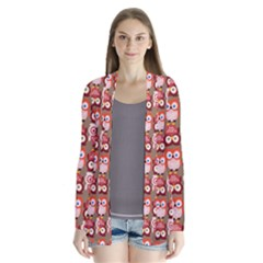 Eye Owl Colorfull Pink Orange Brown Copy Cardigans