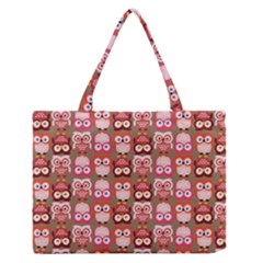 Eye Owl Colorfull Pink Orange Brown Copy Medium Zipper Tote Bag