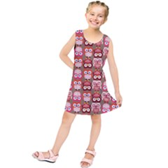 Eye Owl Colorfull Pink Orange Brown Copy Kids  Tunic Dress