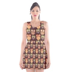 Eye Owl Line Brown Copy Scoop Neck Skater Dress