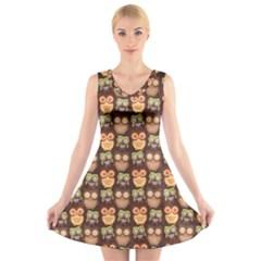 Eye Owl Line Brown Copy V-Neck Sleeveless Skater Dress