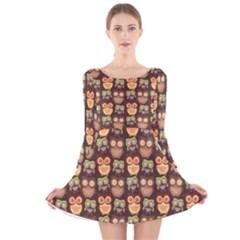 Eye Owl Line Brown Copy Long Sleeve Velvet Skater Dress