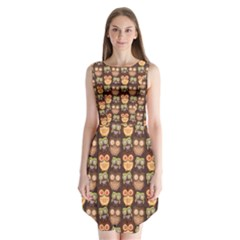 Eye Owl Line Brown Copy Sleeveless Chiffon Dress