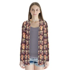 Eye Owl Line Brown Copy Cardigans