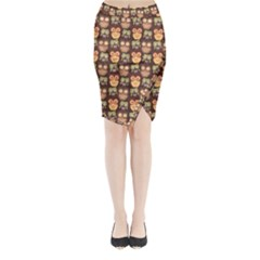 Eye Owl Line Brown Copy Midi Wrap Pencil Skirt