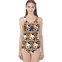 Face Cat Yellow Cute One Piece Swimsuit