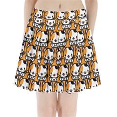 Face Cat Yellow Cute Pleated Mini Skirt