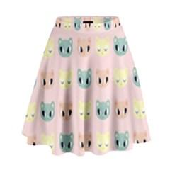 Face Cute Cat High Waist Skirt