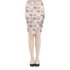 Face Cute Cat Midi Wrap Pencil Skirt