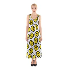 Face Smile Yellow Copy Sleeveless Maxi Dress