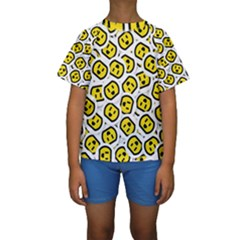 Face Smile Yellow Copy Kids  Short Sleeve Swimwear