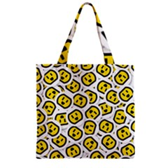 Face Smile Yellow Copy Zipper Grocery Tote Bag
