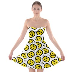 Face Smile Yellow Copy Strapless Bra Top Dress