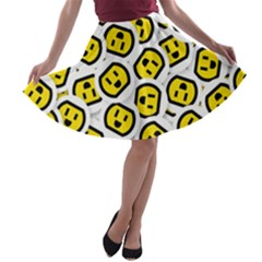 Face Smile Yellow Copy A-line Skater Skirt