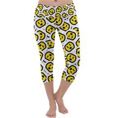 Face Smile Yellow Copy Capri Yoga Leggings