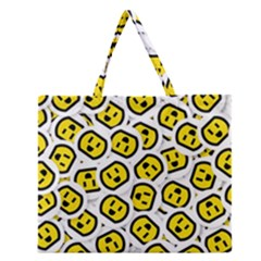 Face Smile Yellow Copy Zipper Large Tote Bag