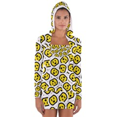 Face Smile Yellow Copy Women s Long Sleeve Hooded T-shirt