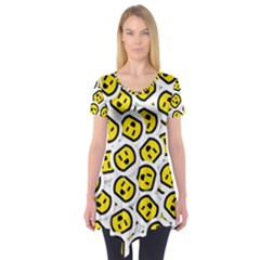 Face Smile Yellow Copy Short Sleeve Tunic