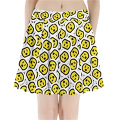 Face Smile Yellow Copy Pleated Mini Skirt