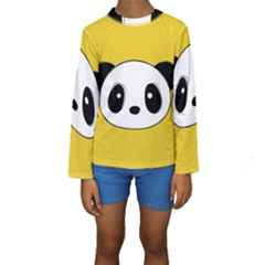 Face Panda Cute Kids  Long Sleeve Swimwear