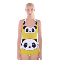 Face Panda Cute Boyleg Halter Swimsuit
