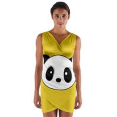 Face Panda Cute Wrap Front Bodycon Dress
