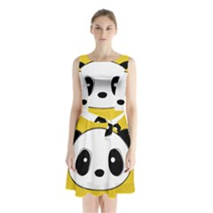 Face Panda Cute Sleeveless Chiffon Waist Tie Dress