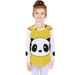 Face Panda Cute Kids  Long Sleeve Tee