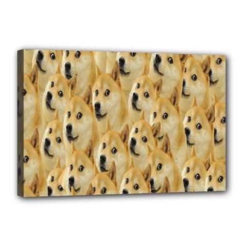 Face Cute Dog Canvas 18  x 12