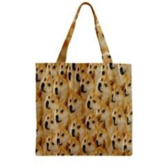 Face Cute Dog Zipper Grocery Tote Bag