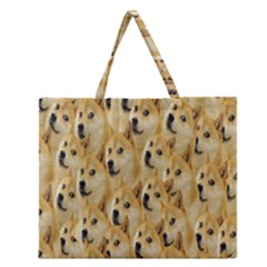 Face Cute Dog Zipper Large Tote Bag