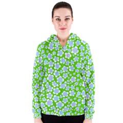 Flower Green Copy Women s Zipper Hoodie