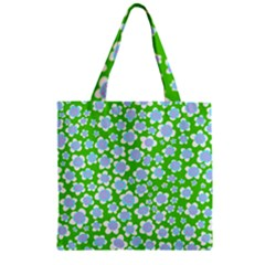 Flower Green Copy Zipper Grocery Tote Bag