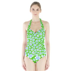 Flower Green Copy Halter Swimsuit