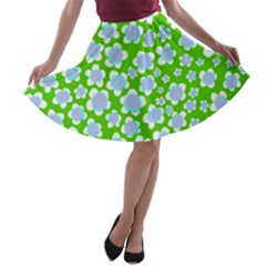 Flower Green Copy A-line Skater Skirt