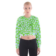 Flower Green Copy Women s Cropped Sweatshirt