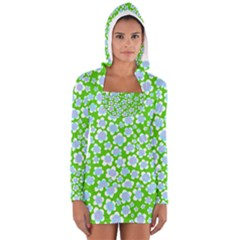 Flower Green Copy Women s Long Sleeve Hooded T-shirt