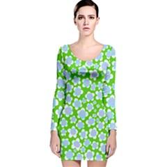 Flower Green Copy Long Sleeve Velvet Bodycon Dress