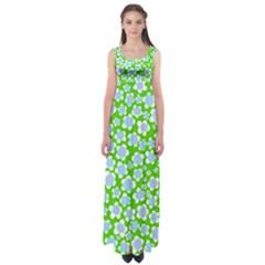 Flower Green Copy Empire Waist Maxi Dress