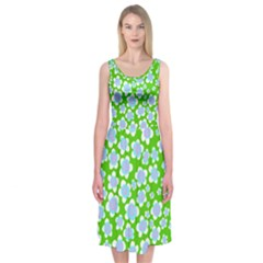 Flower Green Copy Midi Sleeveless Dress