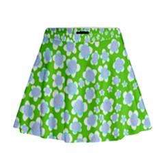 Flower Green Copy Mini Flare Skirt
