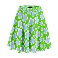 Flower Green Copy High Waist Skirt
