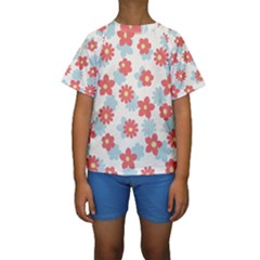 Flower Pink Kids  Short Sleeve Swimwear