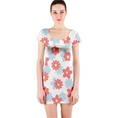 Flower Pink Short Sleeve Bodycon Dress