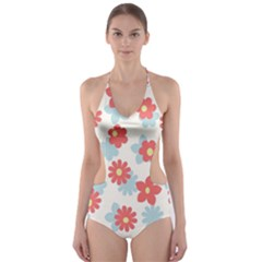 Flower Pink Cut-Out One Piece Swimsuit