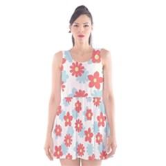 Flower Pink Scoop Neck Skater Dress