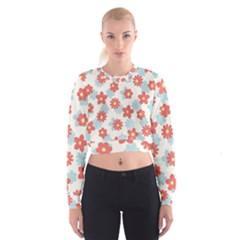 Flower Pink Women s Cropped Sweatshirt