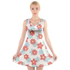 Flower Pink V-Neck Sleeveless Skater Dress